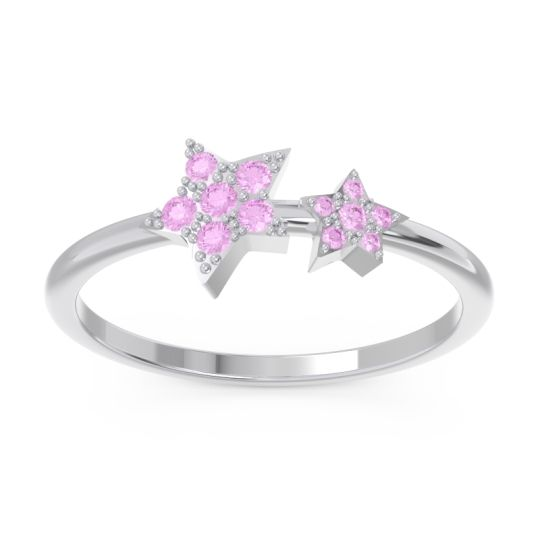 Petite Modern Pave Milati Pink Tourmaline Ring in 18k White Gold