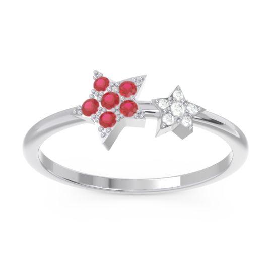 Petite Modern Pave Milati Ruby Ring with Diamond in 14k White Gold