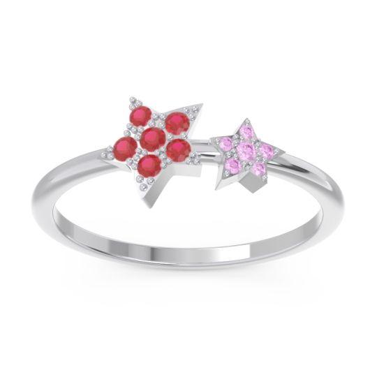 Petite Modern Pave Milati Ruby Ring with Pink Tourmaline in 18k White Gold