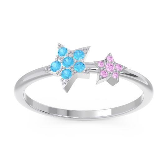 Petite Modern Pave Milati Swiss Blue Topaz Ring with Pink Tourmaline in 18k White Gold