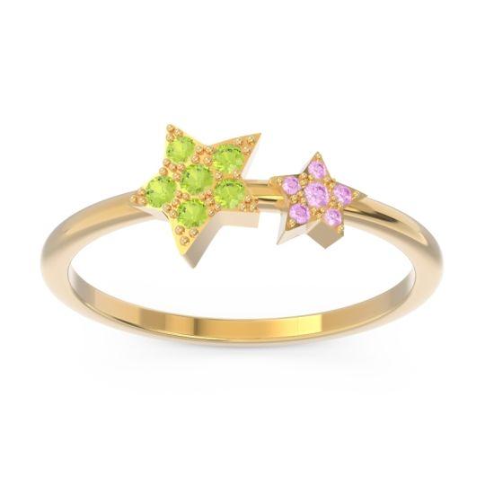 Petite Modern Pave Milati Peridot Ring with Pink Tourmaline in 14k Yellow Gold