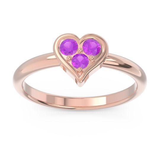 Petite Modern Patve Manahputa Amethyst Ring in 14K Rose Gold