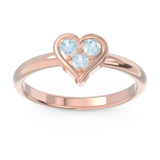 Petite Modern Patve Manahputa Aquamarine Ring in 14K Rose Gold