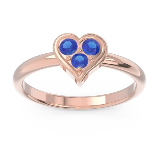 Petite Modern Patve Manahputa Blue Sapphire Ring in 14K Rose Gold