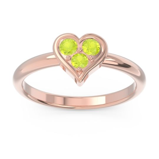 Petite Modern Patve Manahputa Peridot Ring in 14K Rose Gold