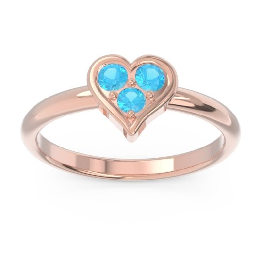 Petite Modern Patve Manahputa Swiss Blue Topaz Ring in 14K Rose Gold