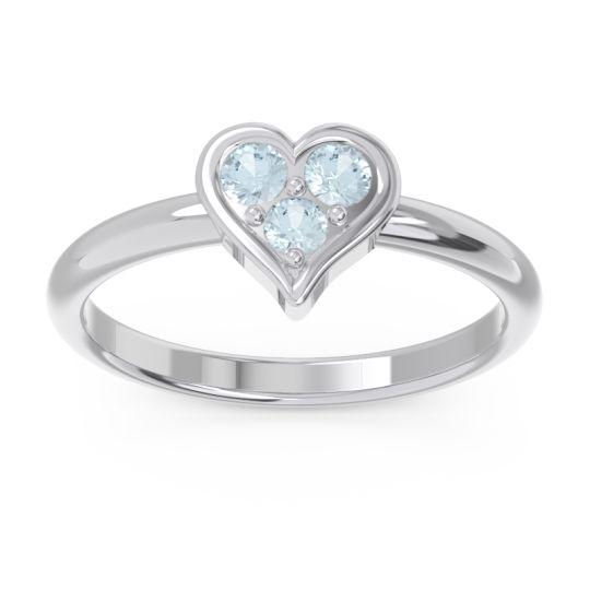 Petite Modern Patve Manahputa Aquamarine Ring in Platinum