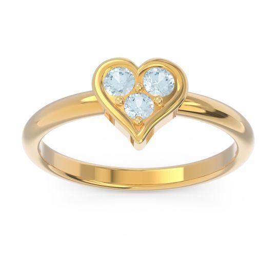 Petite Modern Patve Manahputa Aquamarine Ring in 18k Yellow Gold