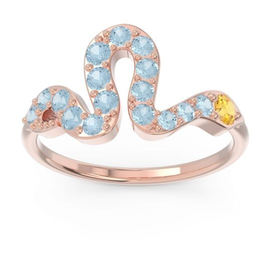 Modern Pave Nada Citrine Ring with Aquamarine in 14K Rose Gold