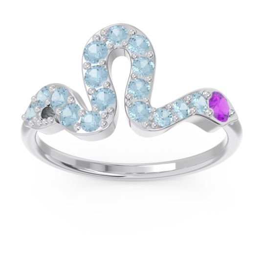 Modern Pave Nada Amethyst Ring with Aquamarine in 14k White Gold