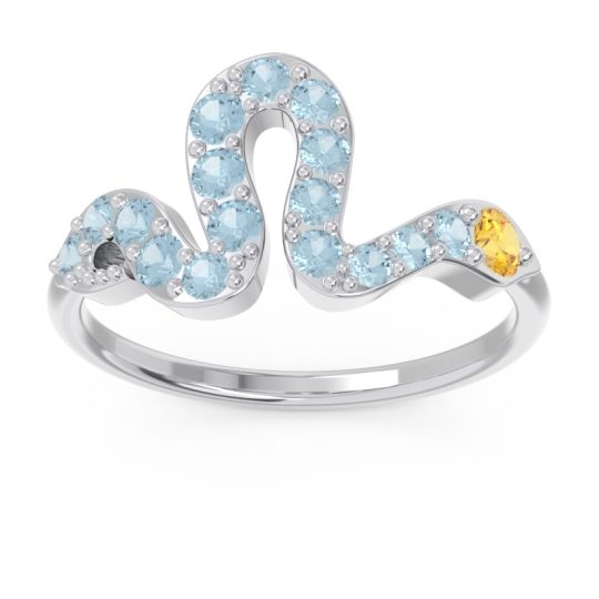 Modern Pave Nada Citrine Ring with Aquamarine in Platinum