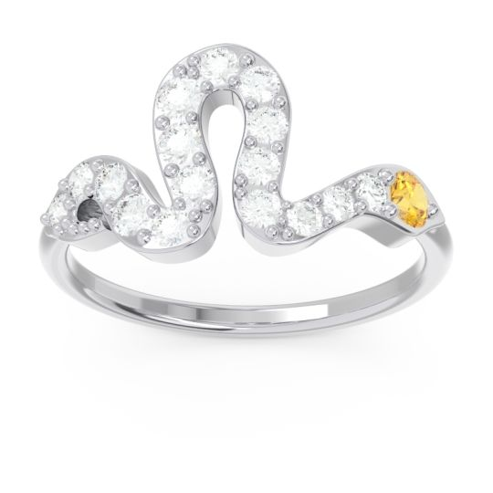 Modern Pave Nada Citrine Ring with Diamond in 14k White Gold
