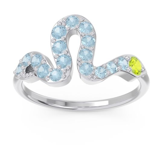 Modern Pave Nada Peridot Ring with Aquamarine in 14k White Gold