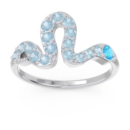 Modern Pave Nada Swiss Blue Topaz Ring with Aquamarine in 14k White Gold