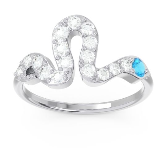 Modern Pave Nada Swiss Blue Topaz Ring with Diamond in 14k White Gold