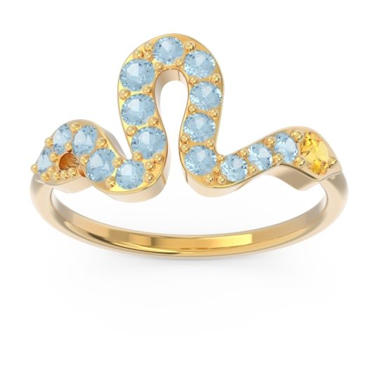 Modern Pave Nada Citrine Ring with Aquamarine in 14k Yellow Gold