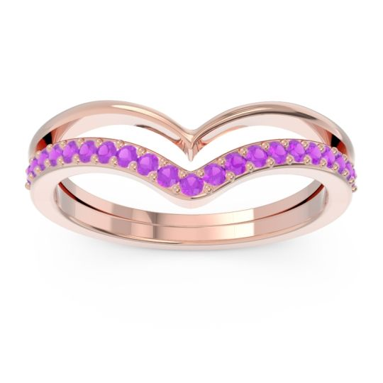 Modern Double Line V-Shape Pave Rajasuta Amethyst Ring in 14K Rose Gold
