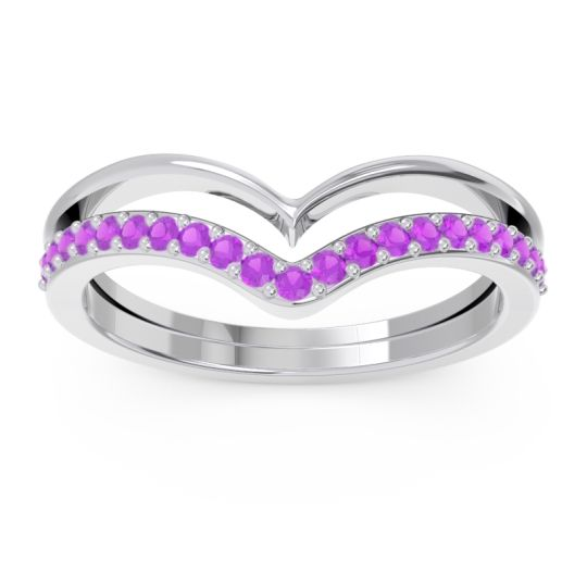 Modern Double Line V-Shape Pave Rajasuta Amethyst Ring in Platinum