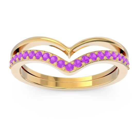 Modern Double Line V-Shape Pave Rajasuta Amethyst Ring in 14k Yellow Gold