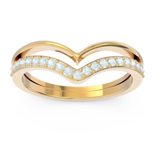Modern Double Line V-Shape Pave Rajasuta Aquamarine Ring in 14k Yellow Gold