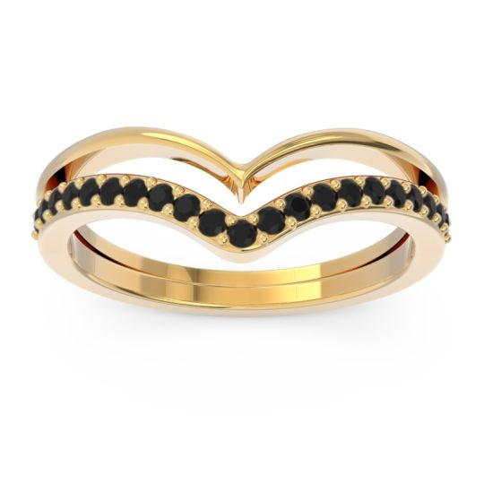 Modern Double Line V-Shape Pave Rajasuta Black Onyx Ring in 14k Yellow Gold