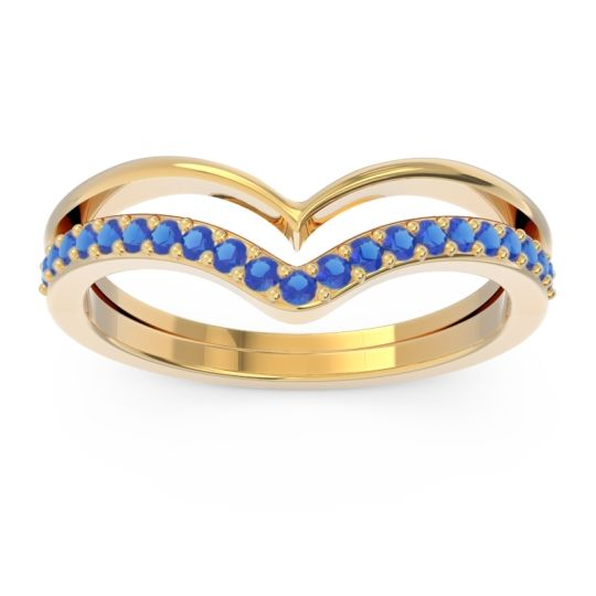 Modern Double Line V-Shape Pave Rajasuta Blue Sapphire Ring in 14k Yellow Gold