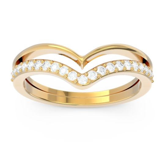 Modern Double Line V-Shape Pave Rajasuta Diamond Ring in 14k Yellow Gold