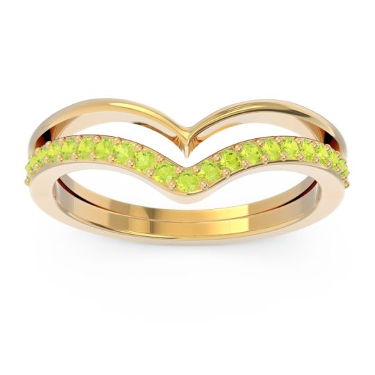 Modern Double Line V-Shape Pave Rajasuta Peridot Ring in 14k Yellow Gold