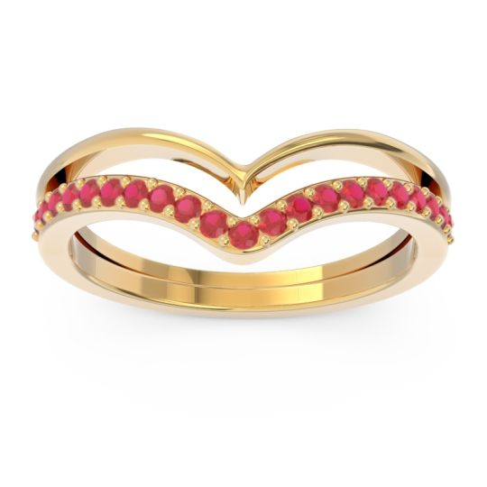 Modern Double Line V-Shape Pave Rajasuta Ruby Ring in 14k Yellow Gold