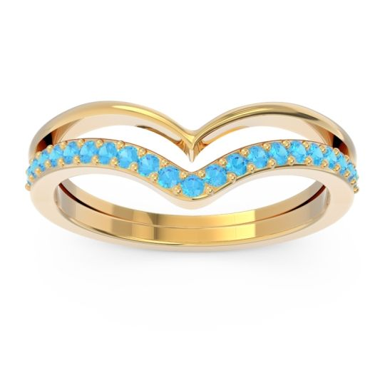 Modern Double Line V-Shape Pave Rajasuta Swiss Blue Topaz Ring in 14k Yellow Gold