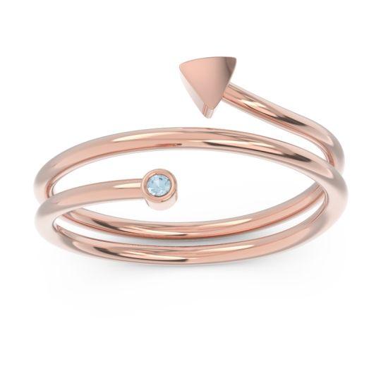Petite Modern Wrap Bhujagga Aquamarine Ring in 14K Rose Gold