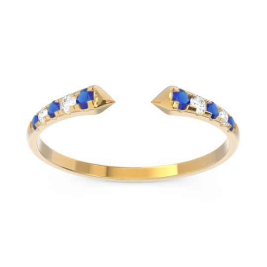 Petite Modern Open Grasa Blue Sapphire Ring with Diamond in 14k Yellow Gold