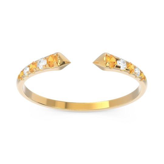 Petite Modern Open Grasa Citrine Ring with Diamond in 14k Yellow Gold