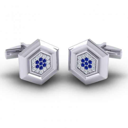 Diamond Sadazra Cufflinks with Blue Sapphire in 14k White Gold