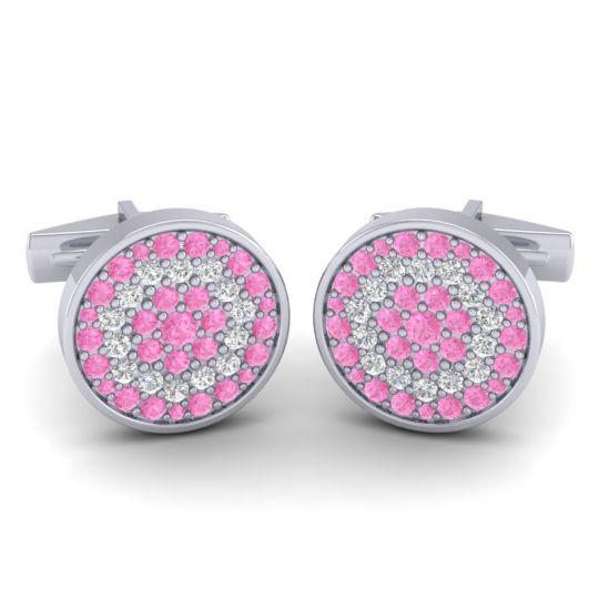 Pink Tourmaline Vartula Cufflinks with Diamond in 14k White Gold