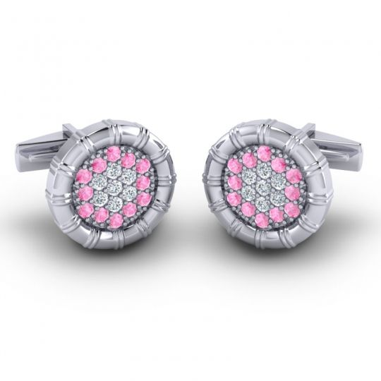 Pink Tourmaline Navika Cufflinks with Diamond in 14k White Gold