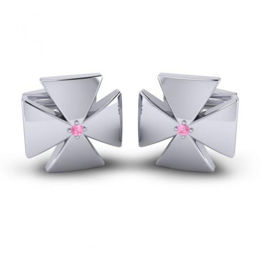 Pink Tourmaline Manin Cufflinks in 14k White Gold