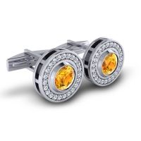 Citrine Bhamin Cufflinks with Diamond in 14k White Gold