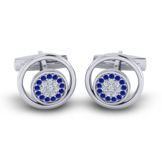 Blue Sapphire Chatra Cufflinks with Diamond in 14k White Gold