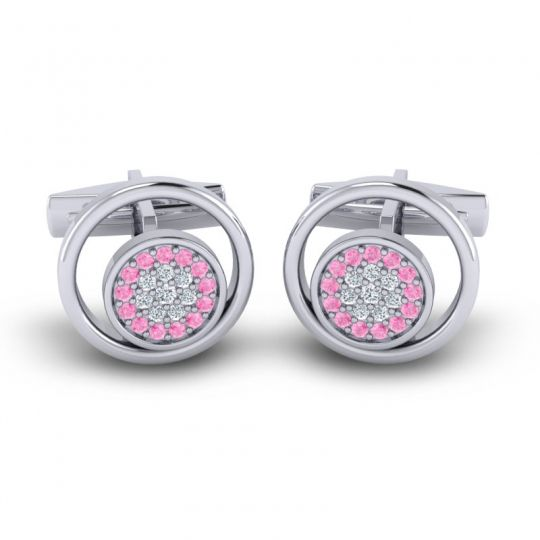 Pink Tourmaline Chatra Cufflinks with Diamond in 14k White Gold