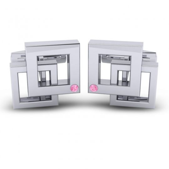 Pink Tourmaline Maya Cufflinks in 14k White Gold