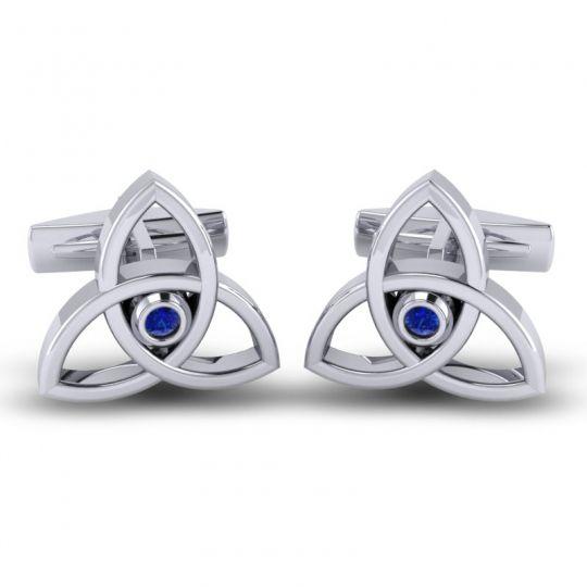 Blue Sapphire Tridha Cufflinks in 14k White Gold