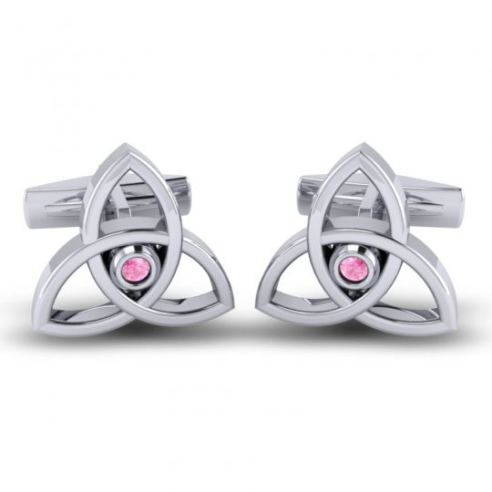 Pink Tourmaline Tridha Cufflinks in 14k White Gold