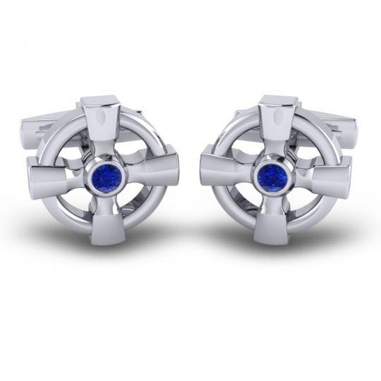 Blue Sapphire Ara Cufflinks in 14k White Gold