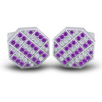 Amethyst Astakona Cufflinks with Diamond in 14k White Gold