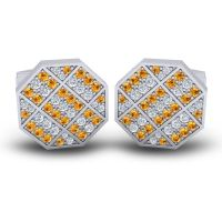 Citrine Astakona Cufflinks with Diamond in 14k White Gold