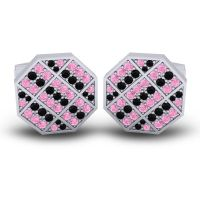 Pink Tourmaline Astakona Cufflinks with Black Onyx in 14k White Gold