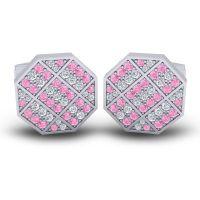Pink Tourmaline Astakona Cufflinks with Diamond in 14k White Gold