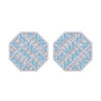 Aquamarine Astakona Cufflinks with Diamond in 14k White Gold