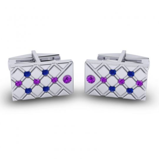 Amethyst Chada Cufflinks with Blue Sapphire in 14k White Gold
